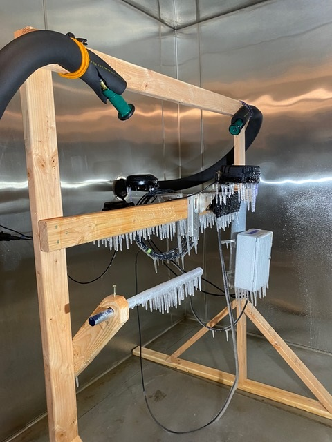 This particular setup is for NEMA 250 testing for outdoor enclosures, simulating ice build-up on the test units.